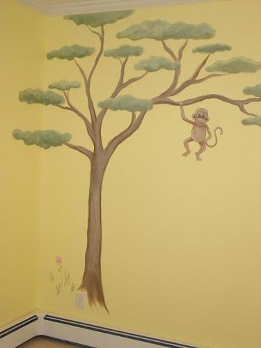 african-plains-monkey-in-tree-flowers-mural-kids-bradenton-florida