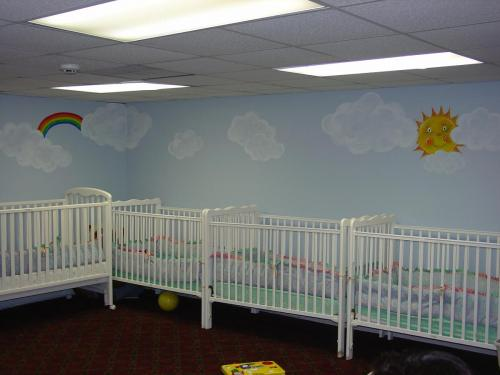 clouds-sun-mural-baby-nursery-daycare-bradenton-florida